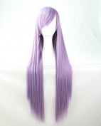 Womens Ladies Girls 80cm Smoke Purple Colour Long Straight Wigs High Quality Hair Carve Cosplay Costume Anime Party Bangs Full Sexy Wigs
