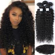 Etino 4Pcs lot Brazilian Virgin Hair 3 Part Lace Closure With 3 Bundles 100% Unprocessed Human Hair Weave Extension Deep Wave