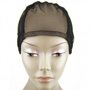 MsFenda full lace wig cap, Wig Making Cap, Glueless Wig Cap, Weaving Mesh Net Cap, adjustable Wig Cap, Black Colour, 3pcs/lot