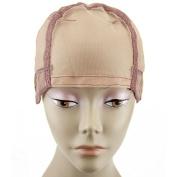 MsFenda full lace wig cap, Wig Making Cap, Glueless Wig Cap, Weaving Mesh Net Cap, adjustable Wig Cap, Brown Colour, 3pcs/lot