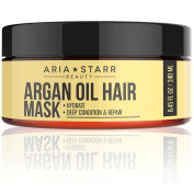 Aria Starr Argan Oil Restorative Mask Repair Hair Treatment - Best Professional Moisturiser & Deep Conditioner For Damaged, Dry, Brittle, Curly, Frizzy, Colour Treated & Natural Hair
