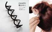 10Pc Black Spiral Hair Spin Screw Hairpin Pin Clip Twist Barrette Magic Roll Donut Bun Stick Former Hair Maker Braid Ponytail Hairstyle Styling Tool Accessory