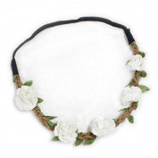 Fashionwu Women Boho Flower Hairband Party Wedding Headbands White