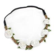 Fashionwu Women Boho Flower Hairband Party Wedding Headbands White