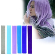 Lilac Blue Miley Cyrus Ombre Hair Colour | SKY BLUE Hair Colour | With Shades of Silver, Light Blue, Lilac, Steel Blue, Royal & Navy A Pack of 6 Hair Chalk | Colour your Hair Lilac Blue Ombre in seconds with temporary HairChalk