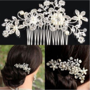 Vktech® Bridal Wedding Flower Crystal Rhinestone Hair Clip Comb Pin Diamante Silver