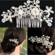 Vktech® Bridal Wedding Flower Crystal Rhinestone Hair Clip Comb Pin Diamante Silver