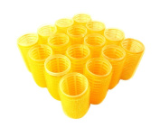 "16pc x 32mm (1-1/4"") Self Grip hook and loop Hair Rollers Pro Salon Hairdressing Curlers Yellow Medium"