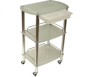 LCL Beauty Extra Large Glass & Chrome Roller Trolley with Slide-Out Removable Storage Bin