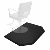 Saloniture 1.5m x 1.2m Salon & Barber Shop Chair Anti-Fatigue Mat - Black Hexagon - 1