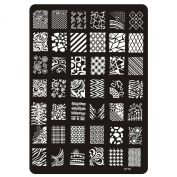 Gellen Multi-Styles Stainless Steel Nail Plate Template Stamping Nail Art DIY Design Manicure Decal 1 Sheet Pattern#8
