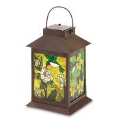 koehler Home Decor Outdoor Garden Accent Solar Powered Metal Glass Floral Lantern