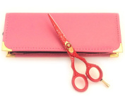 Professional Hairdressing Scissors Hair Cutting Shears Barber Salon Styling Scissors 13cm Japanese Steel with Case Red