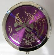 Purse Handbag Double Compact Cosmetic Mirror - Butterfly - Dark Purple