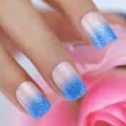 Bling Art False Nails French Manicure Blue Be My Baby 24 Full Cover Medium Tips