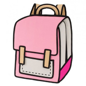 Sammua 3D Jump Style 2D Drawing From Cartoon Paper Comic Backpack School Shoulder Bag - pink