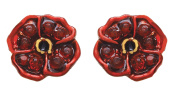 Jodie Rose Gold Plated and Red Crystal Poppy Earrings 25359