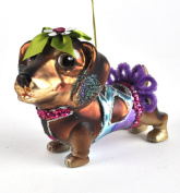 Dachshund - Painted Glass Hanging Decoration 10cm / 4""