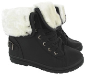NEW LADIES FAUX FUR GRIP SOLE WOMENS WINTER ANKLE BOOTS TRAINERS SHOES SIZE 3-8