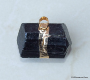Large Black Tourmaline Pendant - Bead Stone Pendant - Gold Embellishment and Bail - 30mm - 35m Long