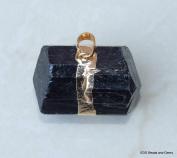 Large Black Tourmaline Pendant - Bead Stone Pendant - Gold Embellishment and Bail - 30mm - 35m Long