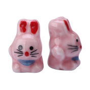Creative Club 10pcs Bunny Spacer Beads (Pink) 18x12mm Top Quality Hand Crafted Ceramic Beads #cbb-3