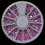 Pink Colour Nail Art Stones Different Size Wheel Rhinestones Beads