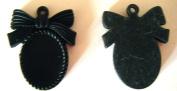 Retro Look Black Plastic Cabochon Setting x 2pcs