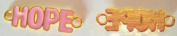"Bracelet Connector Breast Cancer Pink ""Hope"" Gold Plated x 2pcs + 0.9m FREE PINK RIBBON"
