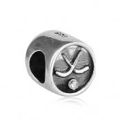 Hockey Puck with Clear CZ 925 Sterling Silver Bead Fits Pandora Charm Bracelet