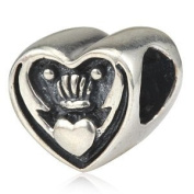 Claddagh Celtic Irish Claddagh Friendship and Love 925 Sterling Silver Bead Fits Pandora Charm Bracelet