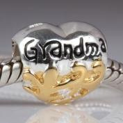 Grandma Heart 925 Sterling Silver Bead Fits Pandora Charm Bracelet