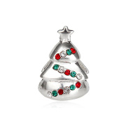 Christmas Tree with Colourful CZ 925 Sterling Silver Bead Fits Pandora Charm Bracelet