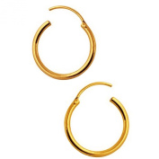 TINY HOOP Earrings, 18K gold filled, 8mm, with polish cloth, mini gift box & keeper bag, for cartilage,ears, lips,nose
