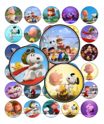 60 Precut 2.5cm THE PEANUTS MOVIE 2015 CHARLIE BROWN Bottle Cap Images