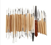 Hanpearl 22pcs Wood Handle Pottery Sculpture Clay Carving Modelling DIY Craft Tool Set