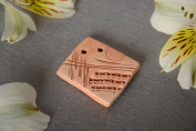 Handmade flat ceramic jewellery component for pendant making without cord