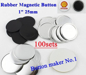 "Rubber Magnetic 1"" 25mm 100sets Badge Button Parts Maker Freezer Sticker DIY"
