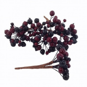 Artificial Berries Burgundy Black Pack of 8 berry picks with 192 berries 13cm