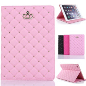 iPad 2/3/4 Cover,Inspirationc® iPad 2/3/4 Crown Pattern Heavy Duty Rugged Leather Flip Smart Cover for Apple iPad 2/3/4 Bling Diamond Protective Stand Case--Pink