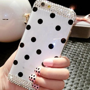 iPhone 6/6s Case Cover + Free Screen Protector-Superstart White Polka Dot Soft TPU Rubber Case for iPhone 6/6s 12cm Bling Diamond Case With Rhinestone Crystal