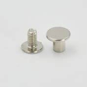 """50 Sets 9.8mm(3/8"""") Brass Flat Head Button Stud Screwback spot For Screw Chicago nail Nickle Gold Colour Choice"""