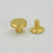 "50 Sets 9.5mm 3/8"" Brass Flat Head Button Stud Screwback spot For Screw Chicago nail Nickle Gold Colour Choice"