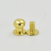 "50 Sets 8mm 3/10"" Brass Head Button Stud Screwback spot For Screw Chicago nail Nickle Gold Bronze Nickle-Black Colour Choice"