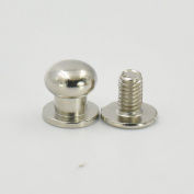 """50 Sets 8mm 3/10"""" Brass Head Button Stud Screwback spot For Screw Chicago nail Nickle Gold Bronze Nickle-Black Colour Choice"""