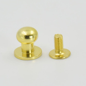 "50 Sets 6.85mm(0.27"") Brass Head Button Stud Screwback spot For Screw Chicago nail Gold"