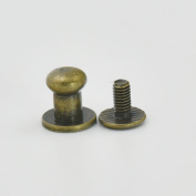 "50 Sets 6.4mm 1/4"" Brass Head Button Stud Screwback spot For Screw Chicago nail Bronze"