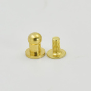 "50 Sets 5mm 1/5"" Brass Head Button Stud Screwback spot For Screw Chicago nail Nickle Light-Gold Gold Bronze Nickle-Black Colour Choice"