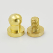"50 Sets 4mm 0.15"" Brass Head Button Stud Screwback spot For Screw Chicago nail Gold"