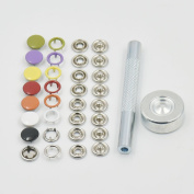 "One Press Fastener tool + 50 Sets 3/8"" 10mm Open Ring Stud Snap Button Sew Mix colour"